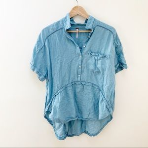 free people light blue button drown blouse M